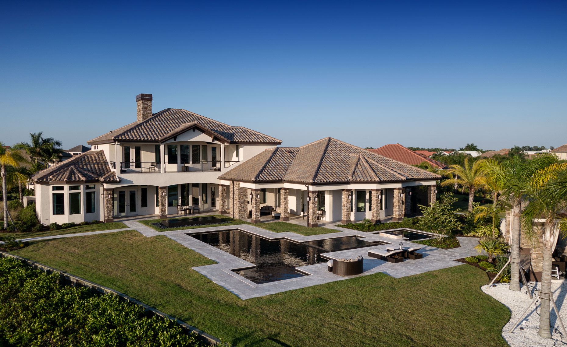 Aerial Custom Waterfront Home - Mark Borosch Photography - Bradenton, FL