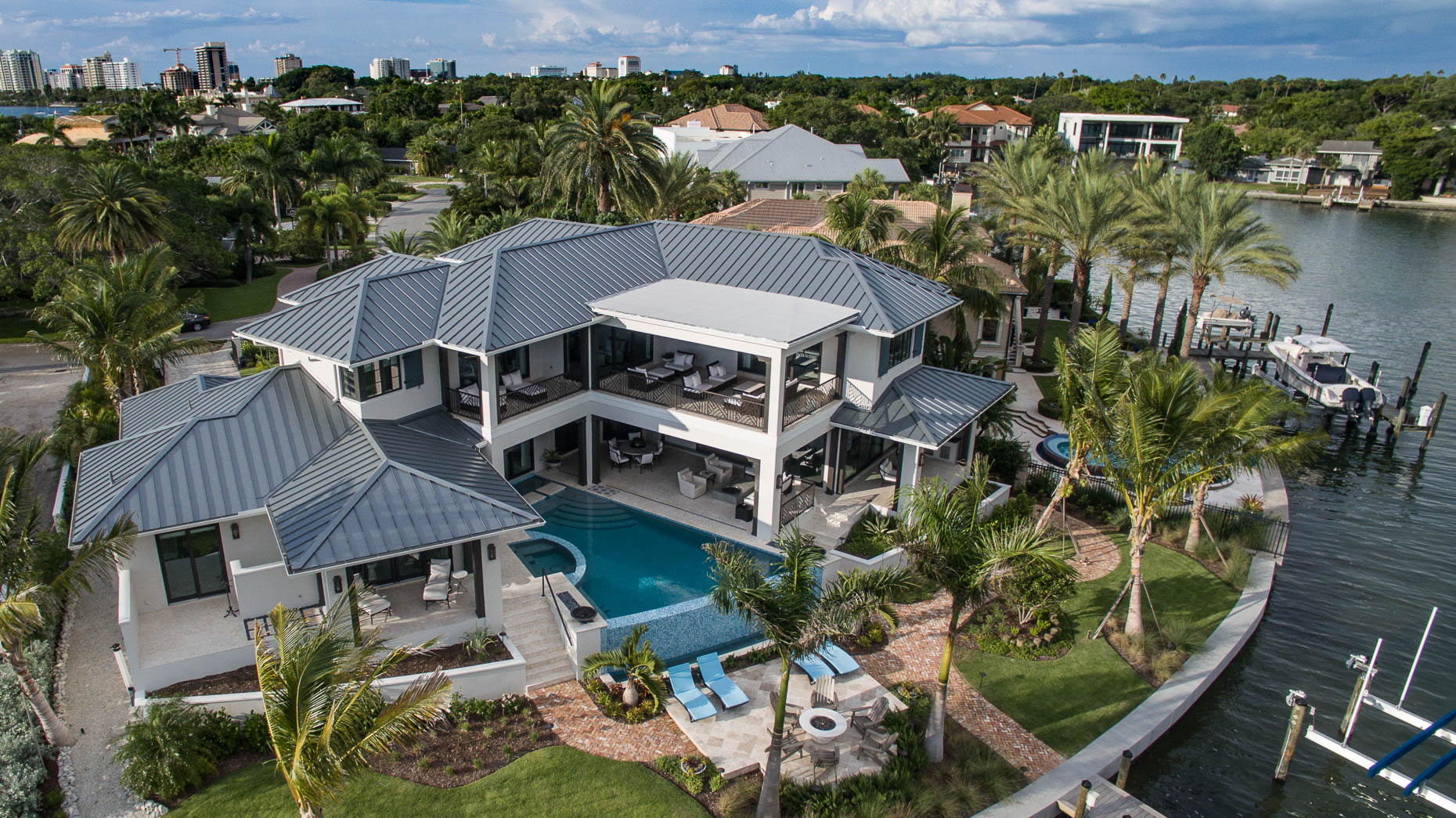 Aerial Custom Waterfront Home - Mark Borosch Photography - Sarasota, FL