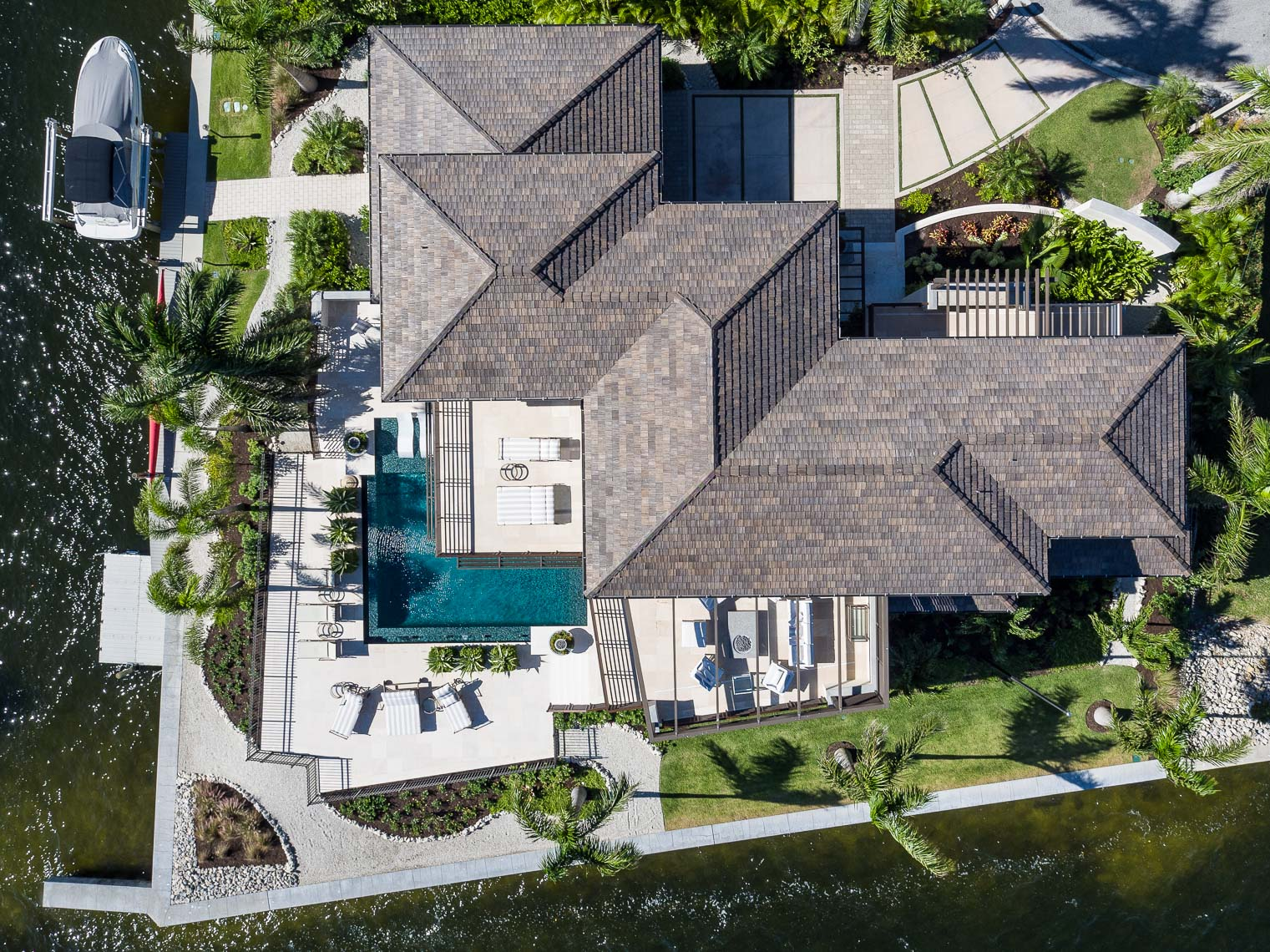 Aerial Custom Waterfront Home - Mark Borosch Photography - Longboat Key, FL