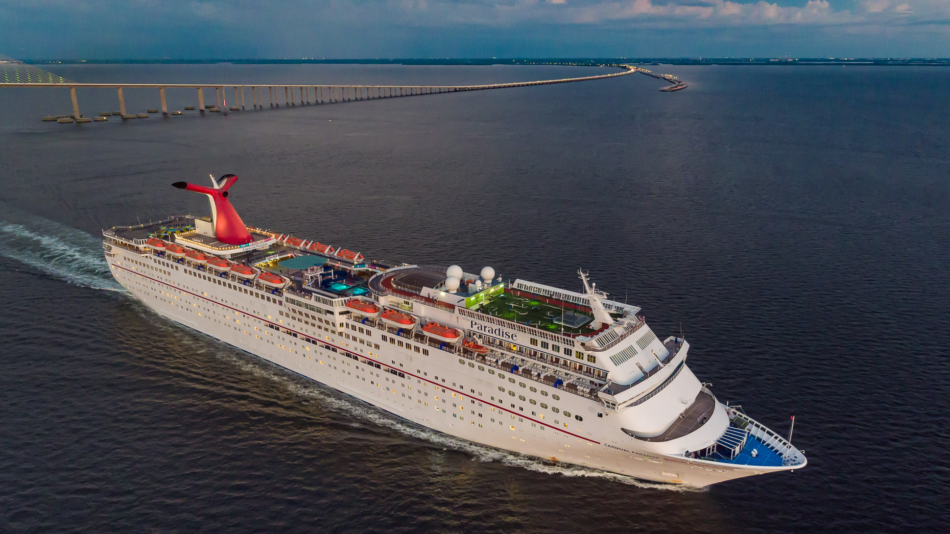 Aerial Carnival Cruise Ship  - Mark Borosch Photography - Tampa Skyway Bridge, FL