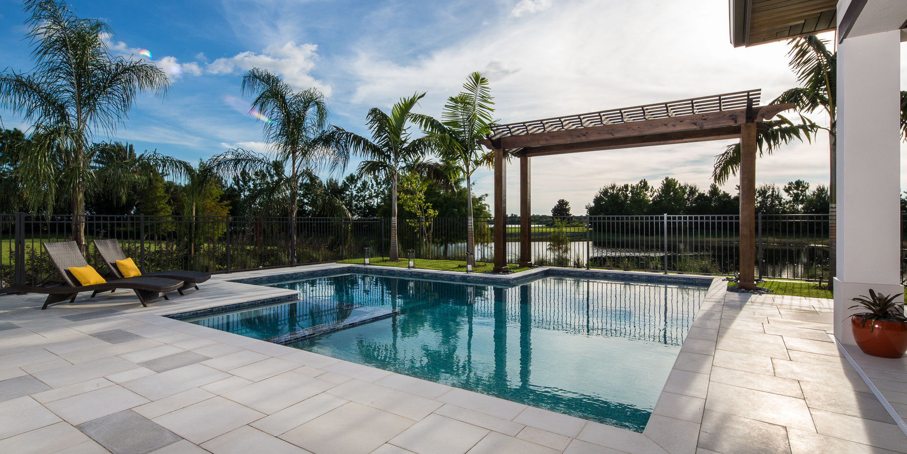 Pool Area, Coastal West Indies Architecture - Mark Borosch Photography - Lakewood Ranch, FL