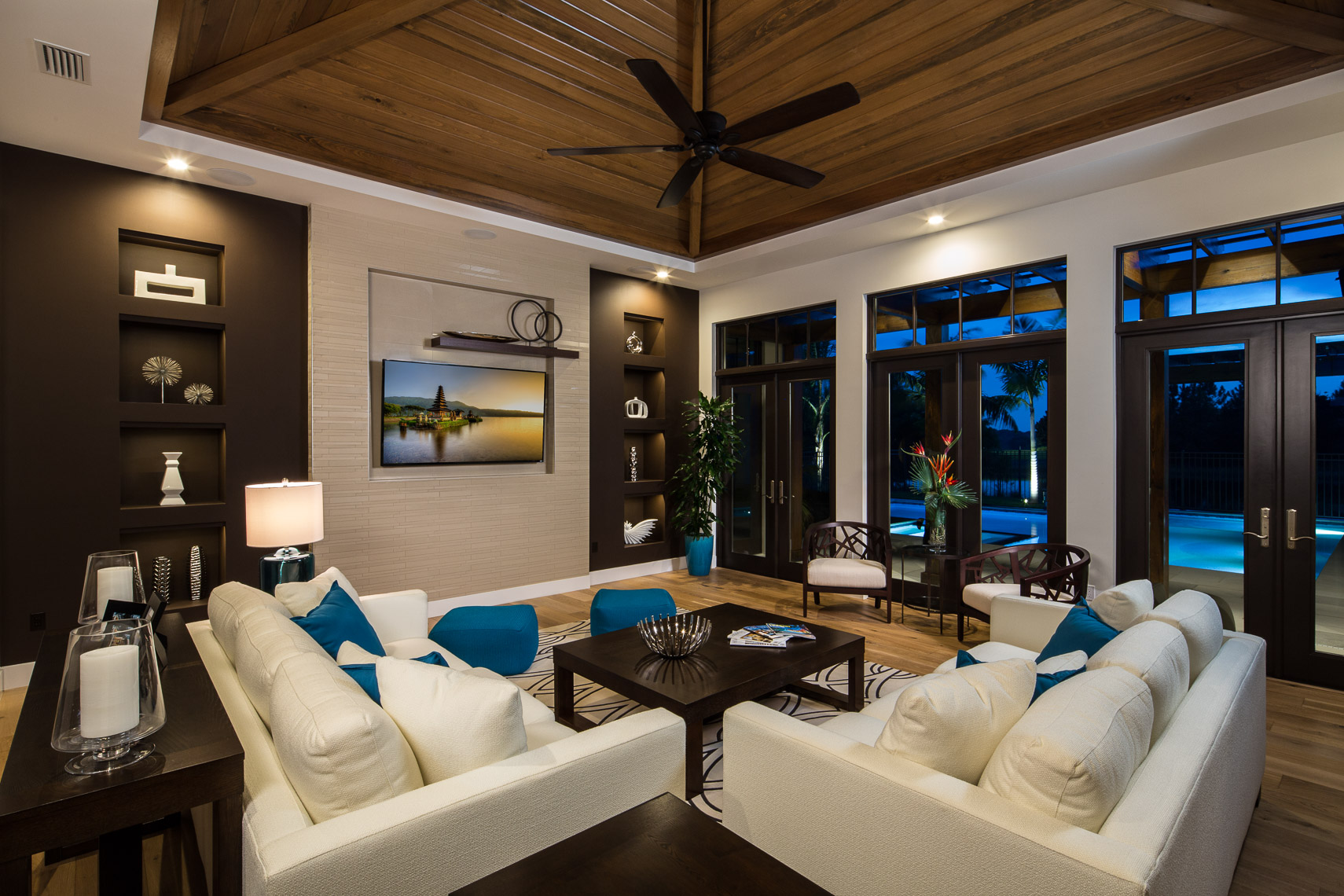 Living Room, Coastal West Indies Architecture - Mark Borosch Photography - Lakewood Ranch, FL